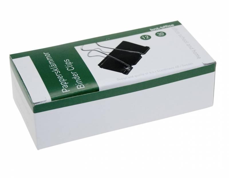 Billede af Papirklemme stål bnt sort 30mm foldback 12stk/pak