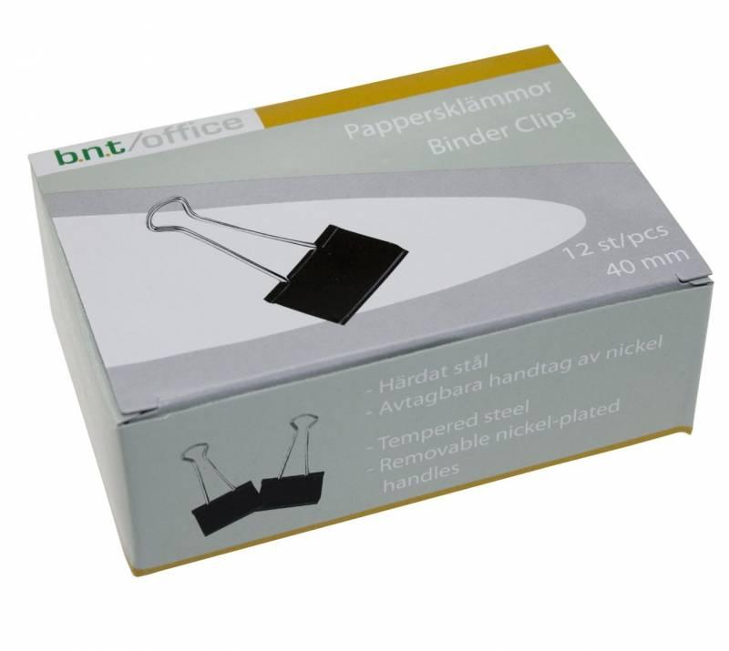 Billede af Papirklemme stål bnt sort 40mm foldback 12stk/pak