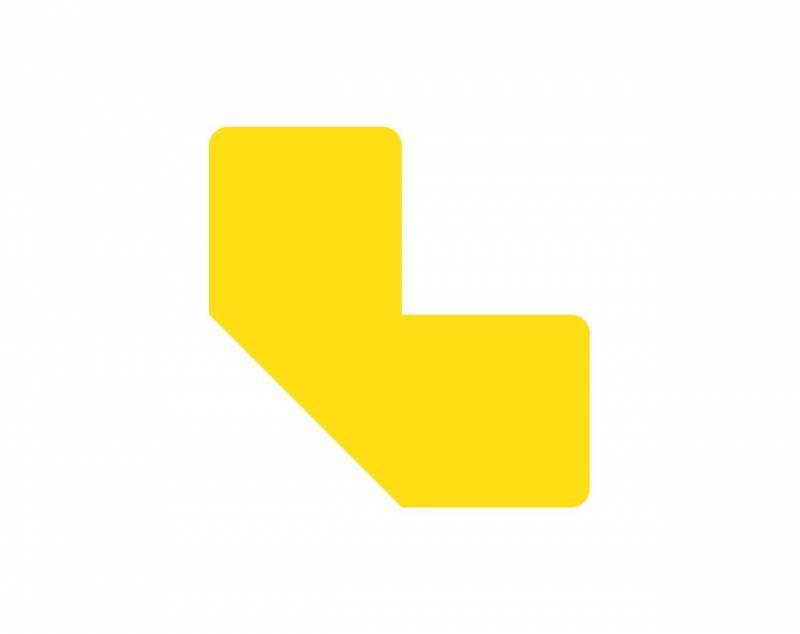 Image of   Gulvmærker L form gul bredde 50mm 10stk/pak
