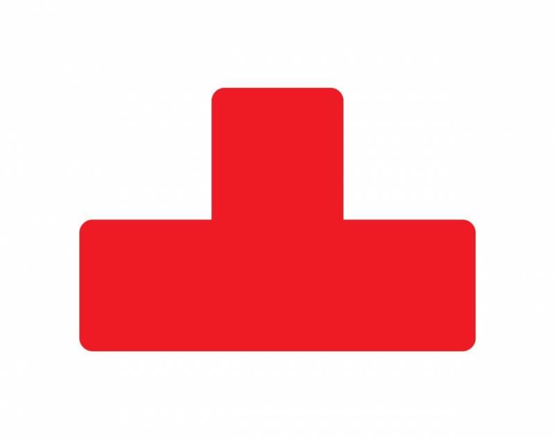 Image of   Gulvmærker T form rød bredde 50mm 10stk/pak