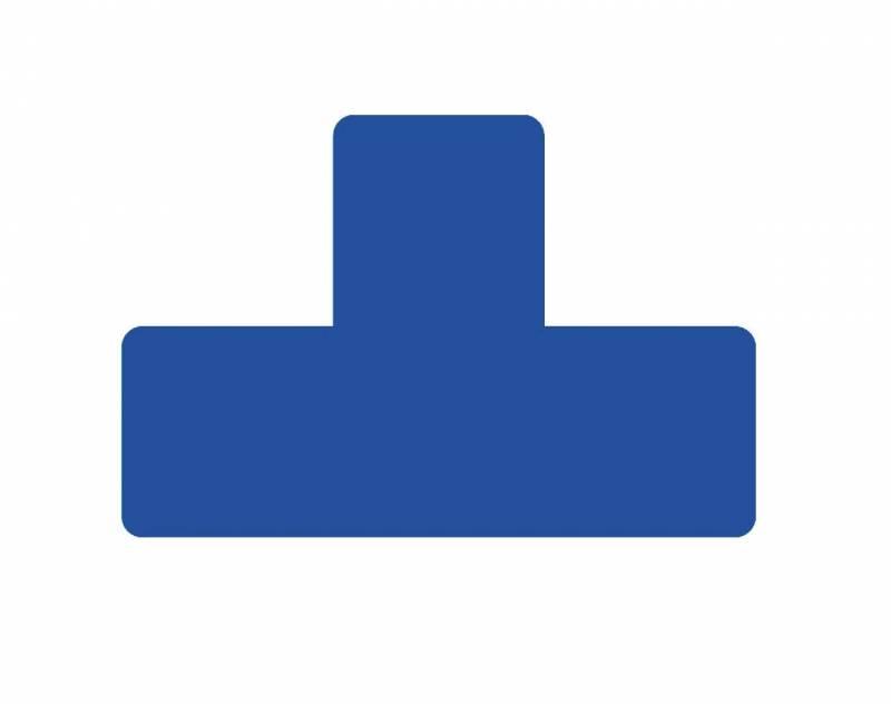 Image of   Gulvmærker T form blå bredde 50mm 10stk/pak