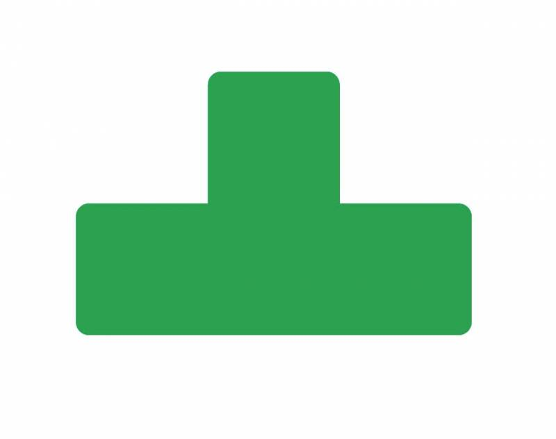 Image of   Gulvmærker T form grøn bredde 50mm 10stk/pak