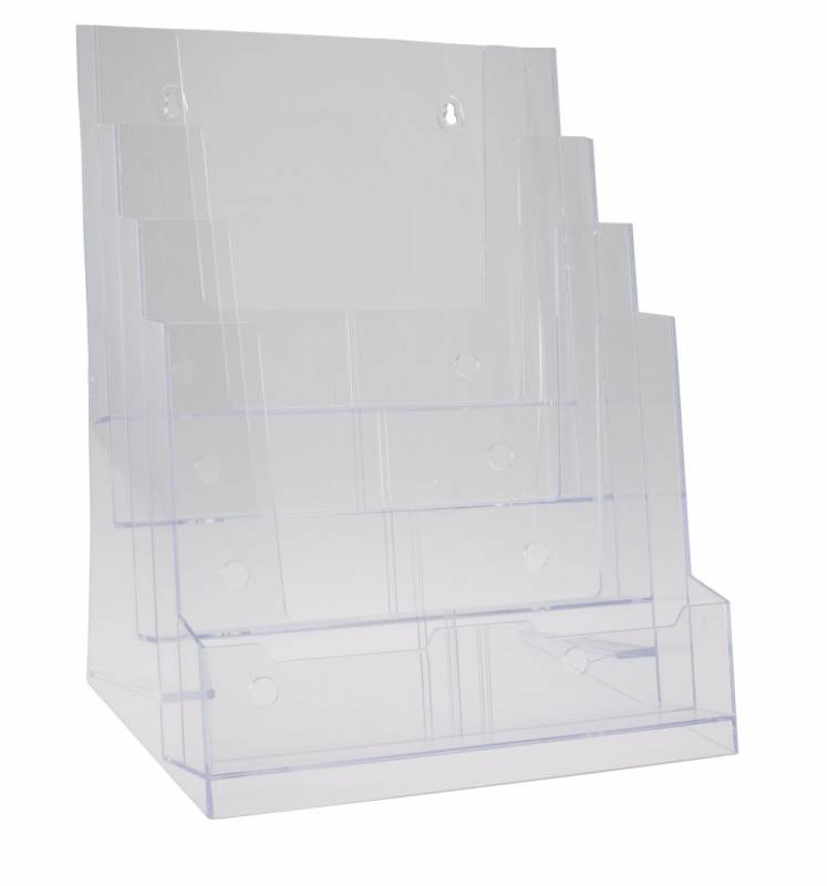 Billede af Brochureholder BNT A4 klar 4 rum bord/væg 297x210mm