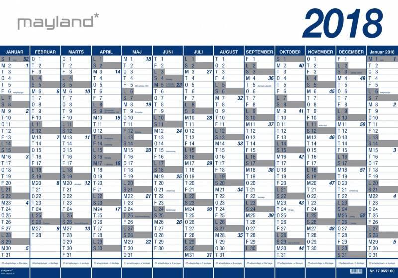 Billede af Mayland 2018 vægkalender 13 måneder vinyl 100 x 70 cm 18065000