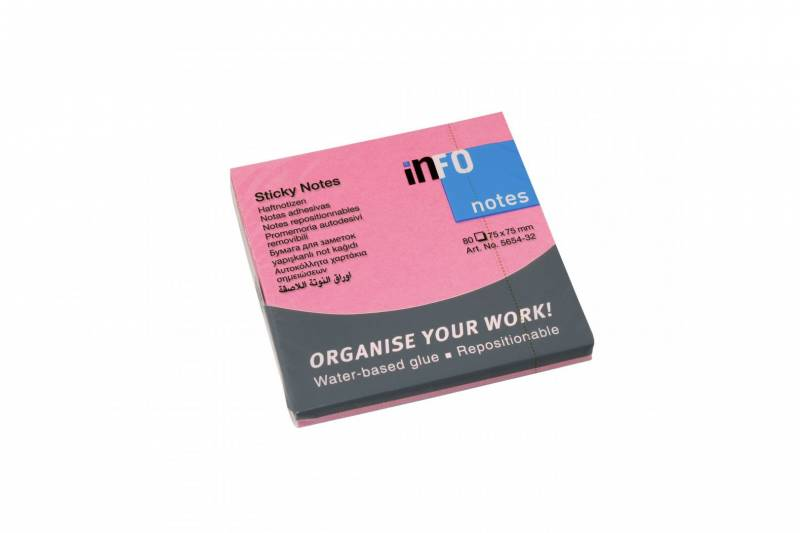 Image of   Notes Info brilliant pink 75x75mm 12blk/pak