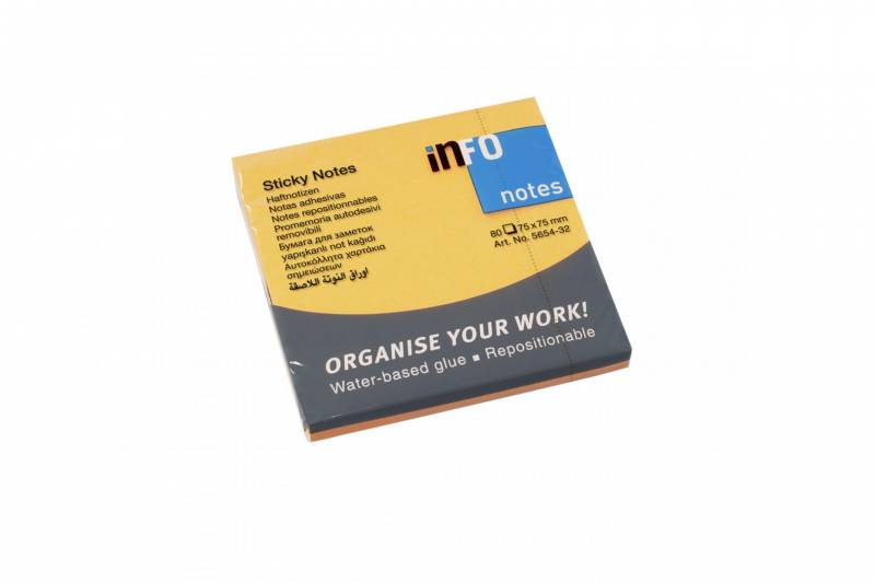 Billede af Notes Info brilliant orange 75x75mm 12blk/pak