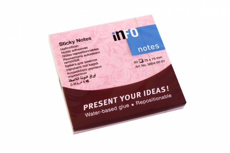 Image of   Notes Info Style rosa 75x75mm 12blk/pak