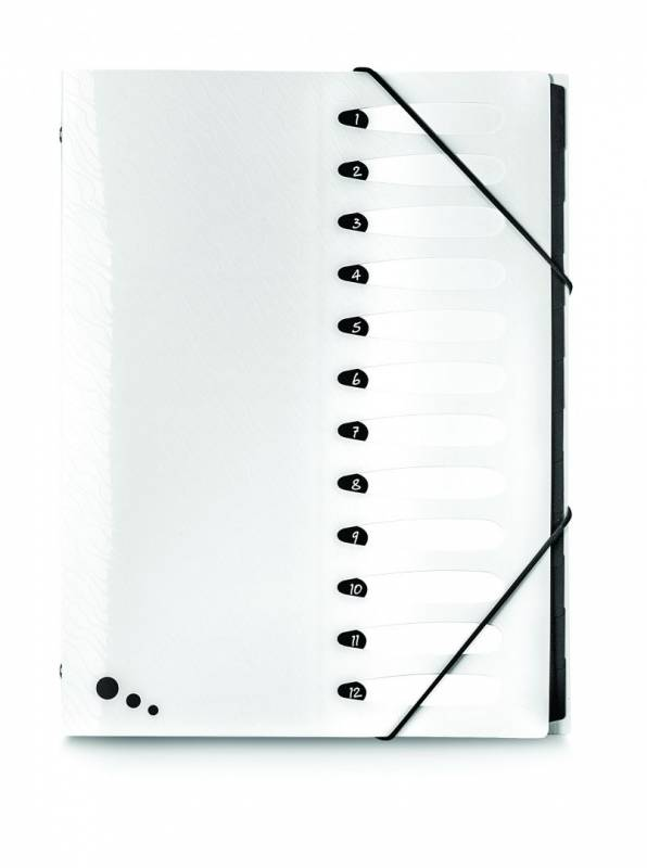 Image of   Sorteringsmappe ELBA Art Studio A4 med 12 faner hvid PP