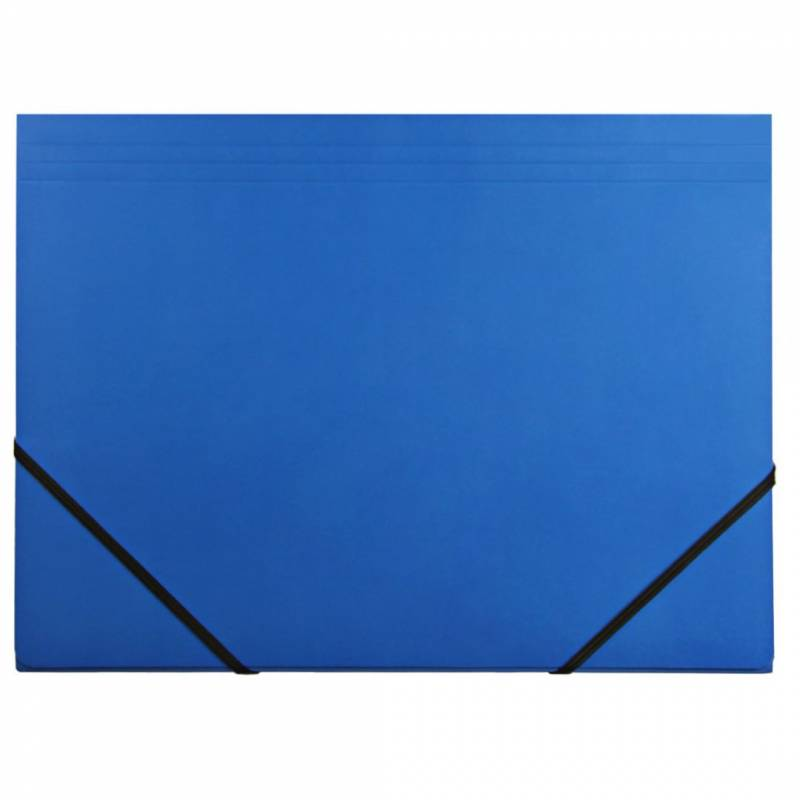 Image of   Kartonmappe Q-Line A4 blå m/3 klapper & elastik blank