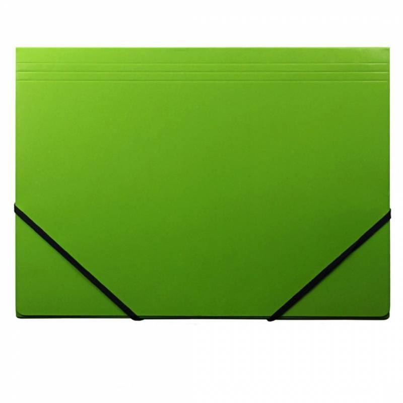 Image of   Kartonmappe Q-Line A4 grøn m/3 klapper & elastik blank