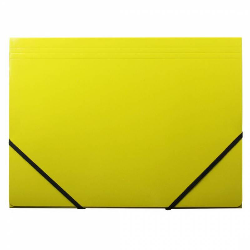 Image of   Kartonmappe Q-Line A4 gul m/3 klapper & elastik blank
