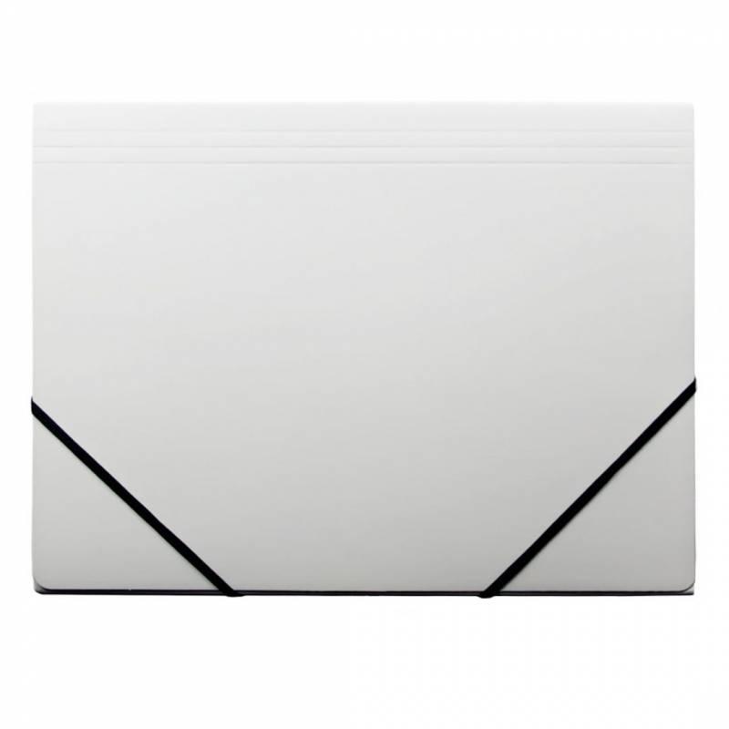 Image of   Kartonmappe Q-Line A4 hvid m/3 klapper & elastik blank