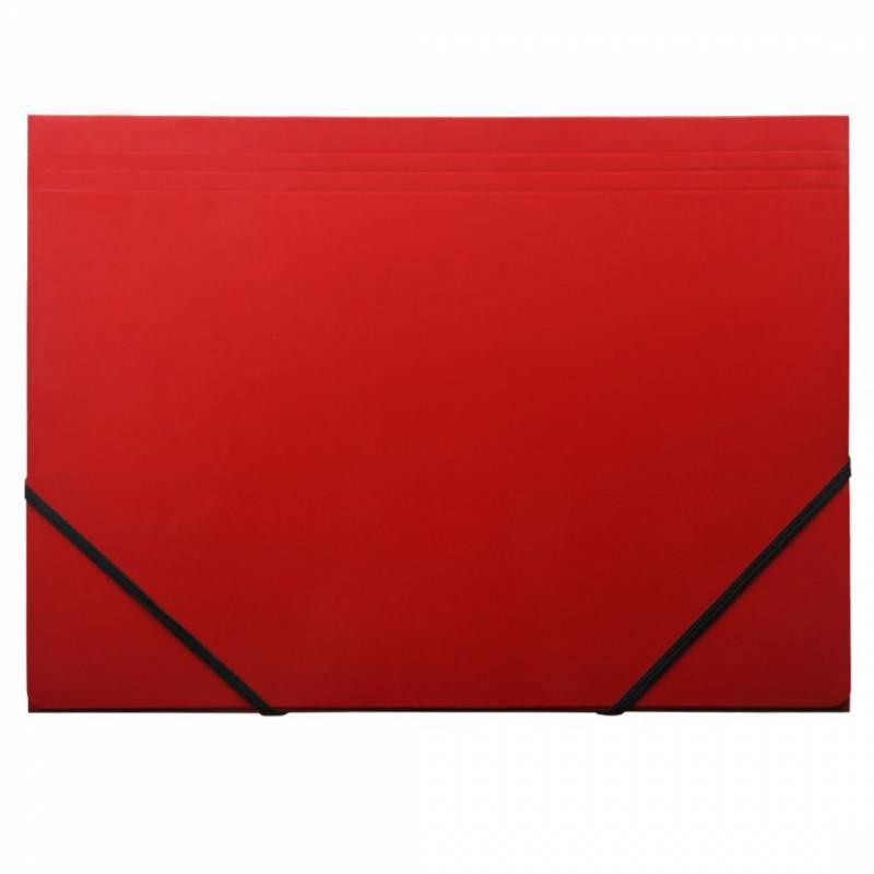 Image of   Kartonmappe Q-Line A4 rød m/3 klapper & elastik blank