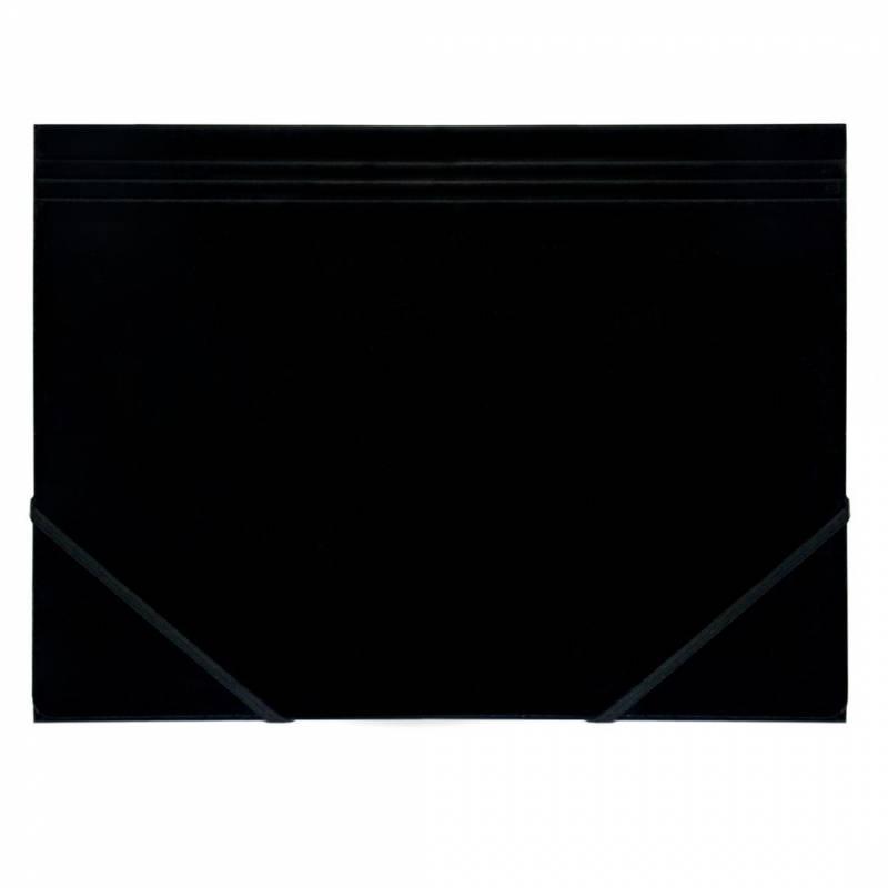 Image of   Kartonmappe Q-Line A4 sort m/3 klapper & elastik blank