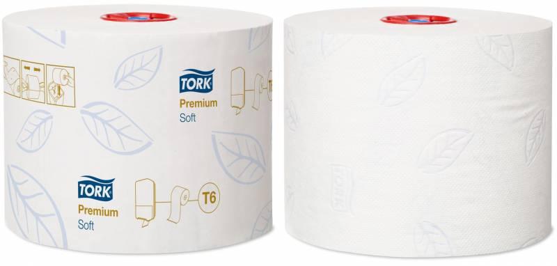 Image of   Toiletpapir Tork Mid-Size T6 PremSoft 2-lag 90m 127520 27rl