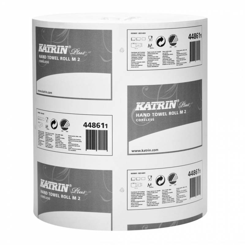 Aftørringspapir Katrin Plus M2 2-la 23cmx167m 6rl/kar 448610