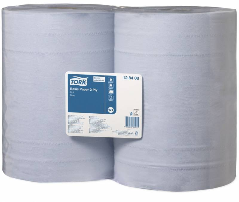 Aftørringspapir Tork Basic W1 2-lags blå 340m 2rul/kar