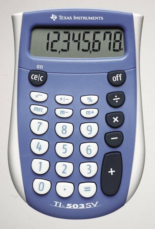 Lommeregner Texas 503 SV 8 cifret display batteridrevet