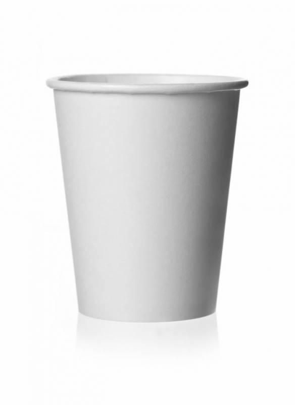 Image of   Kaffebæger bionedbrydelig 8oz hvid 1000stk/kar