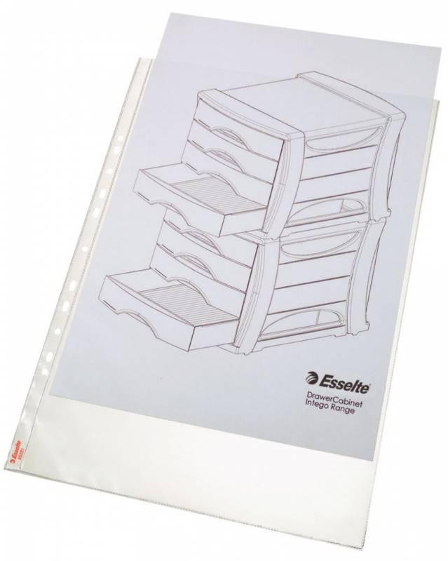 Plastlomme Esselte A3 0,08mm højformat præg 50stk/pak