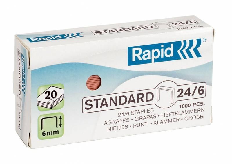 Image of   Hæfteklammer Rapid 24/6 1M kobber Standard 1000stk/pak