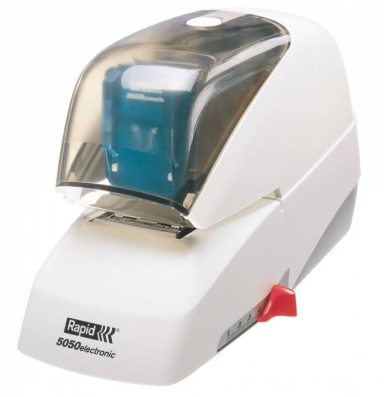 Hæftemaskine el Rapid 5050e* hvid m/sort front t/klammeks.