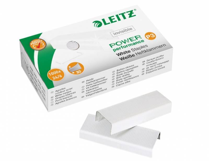 Image of   Hæfteklammer Leitz 24/6 hvid 1000stk/pak