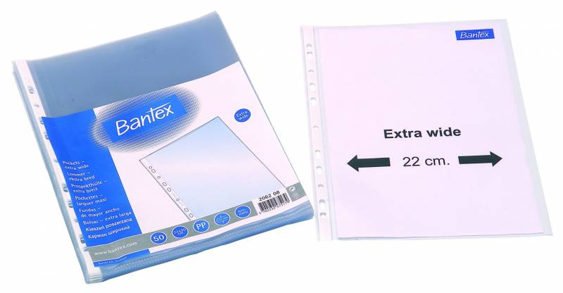 Billede af Plastlomme Bantex A4+ 0,10mm præget 50stk/pak
